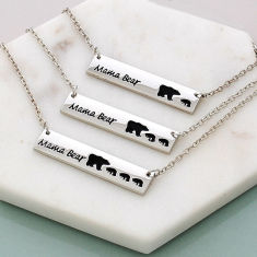 Personalised Mama Bear Mother's Bar Necklace