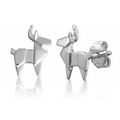 Deer origami stud earrings