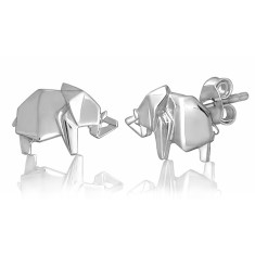 Elephant origami stud earrings