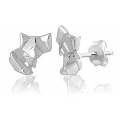 Fox origami stud earrings