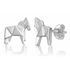 Horse origami stud earrings