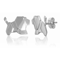 Lion origami stud earrings