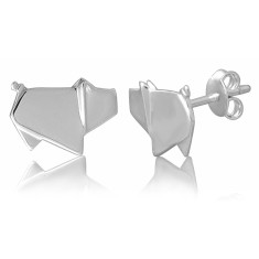 Pig origami stud earrings