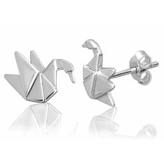Swan origami stud earrings