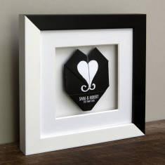 Framed origami wedding & anniversary heart in monchrome