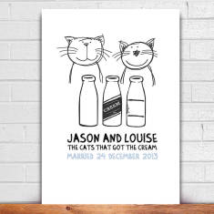 Engagement cats that got the cream print