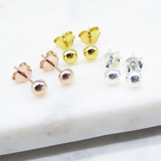 HALF BALL STUD EARRINGS (silver/GOLD/rosegold)