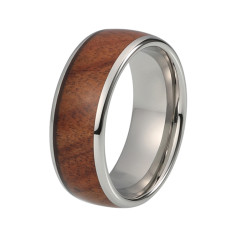 Connery silver domed tungsten and wood ring