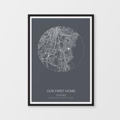Custom round map print