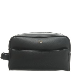 Monogrammed Vegan Saffiano Leather Men's Wash Bag - Black with Gold Embossing