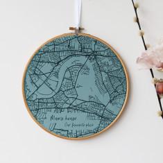 Velvet Map Embroidery Hoop
