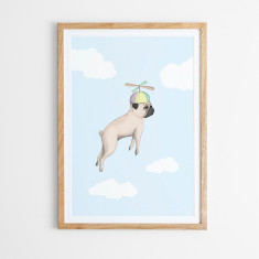 Pugs may fly art print