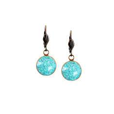 Vintage lever-back copper earrings in turquoise sparkle