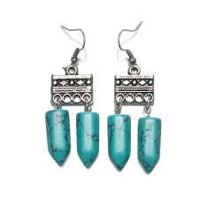 Turquoise gemstone tribal drop earrings