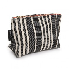Basque Linen Toiletry Bag 'Souraide' in Black & White