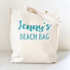 Personalised glitter beach tote bag