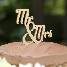 Timber Mr and Mrs traditional wedding cake topper