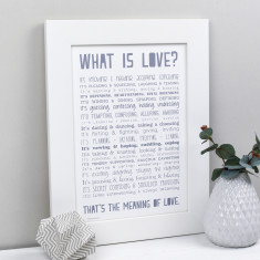 What is love? Personalised poem print
