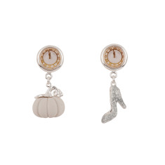 Asymmetrical pumpkin and glass slipper earrings