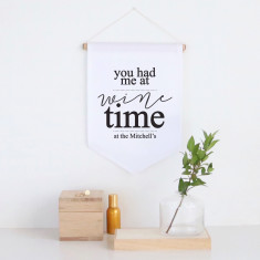 Wine time personalised pennant wall banner