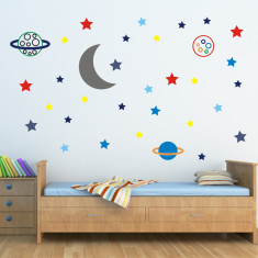Moon, Stars and Planets Space Wall Stickers