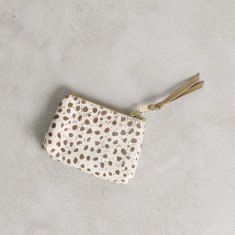 Coin purse in natural almond cheetah