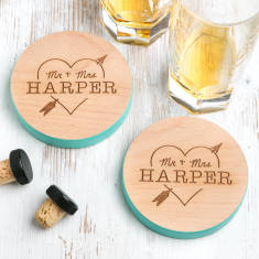 Personalised Mr And Mrs Heart Coloured Edge Coasters