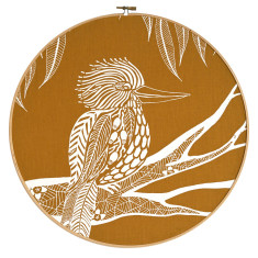 Screen printed kookaburra embroidery hoop (mustard)