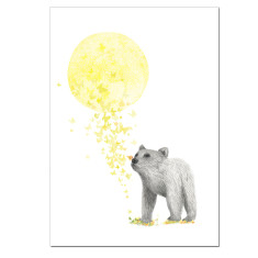 Sun bear yellow flowers butterflies print