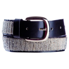 Leather beaded belt in silver