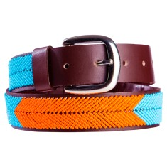 Leather beaded belt in turquoise/orange