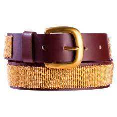 Leather beaded belt in copper