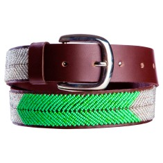 Leather beaded belt in silver/green