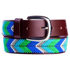 Leather beaded belt in blue/green