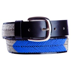 Leather beaded belt in silver/blue