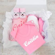 Personalised New Baby Girl Gift Hamper