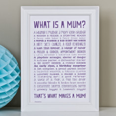 What is a mum? Personalised poem print