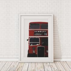 British bus cropped framed print