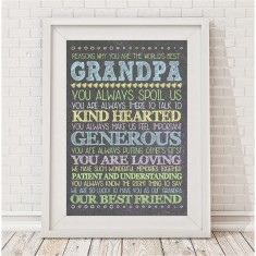 Personalised Best Grandpa/Daddy chalk print