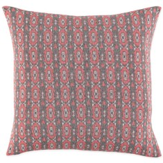 Iris cushion in coral, white and grey