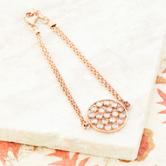 Mosaic Double Chain Bracelet In Rose Gold Plate