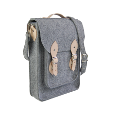 Vertical grey felt laptop bag with genuine leather