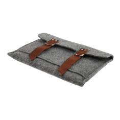 iPad felt case with brown leather