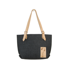 Felt tote bag with leather handle & laser decoration for women