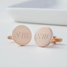 Monogram Personalised Rose Gold Round Cufflinks