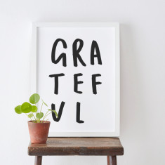 Grateful Typography Print