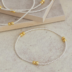 Delicate Silver and Gold Bead Bracelet
