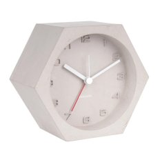 Hexagon Concrete Alarm Clock Light Grey, Silent Sweep Movement
