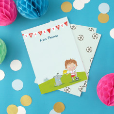 Personalised boy's football thank you cards (set of 8)