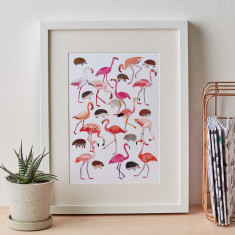 Flamingo and Hedgehog Print